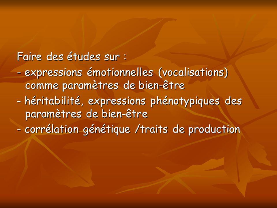 Faire des études sur : - expressions émotionnelles (vocalisations) comme paramètres de bien-être.