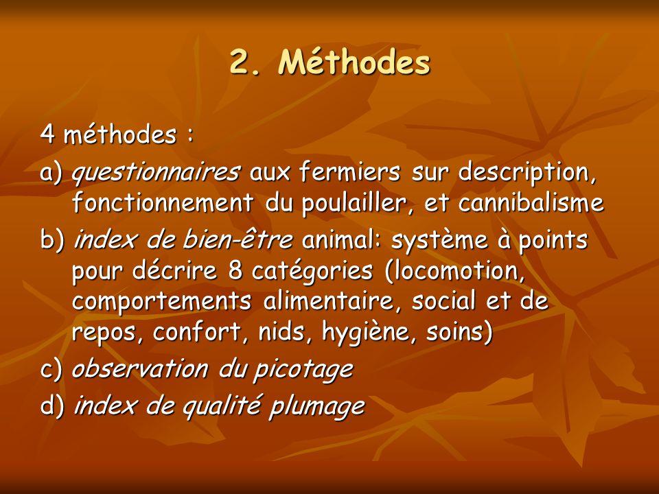 2. Méthodes 4 méthodes : a) questionnaires aux fermiers sur description, fonctionnement du poulailler, et cannibalisme.