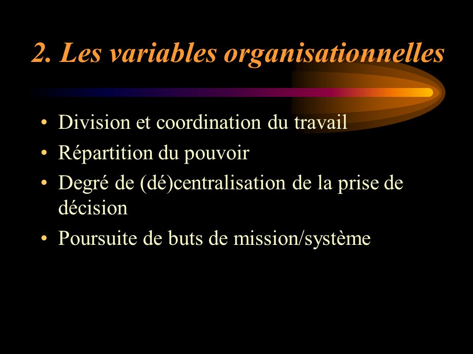 2. Les variables organisationnelles
