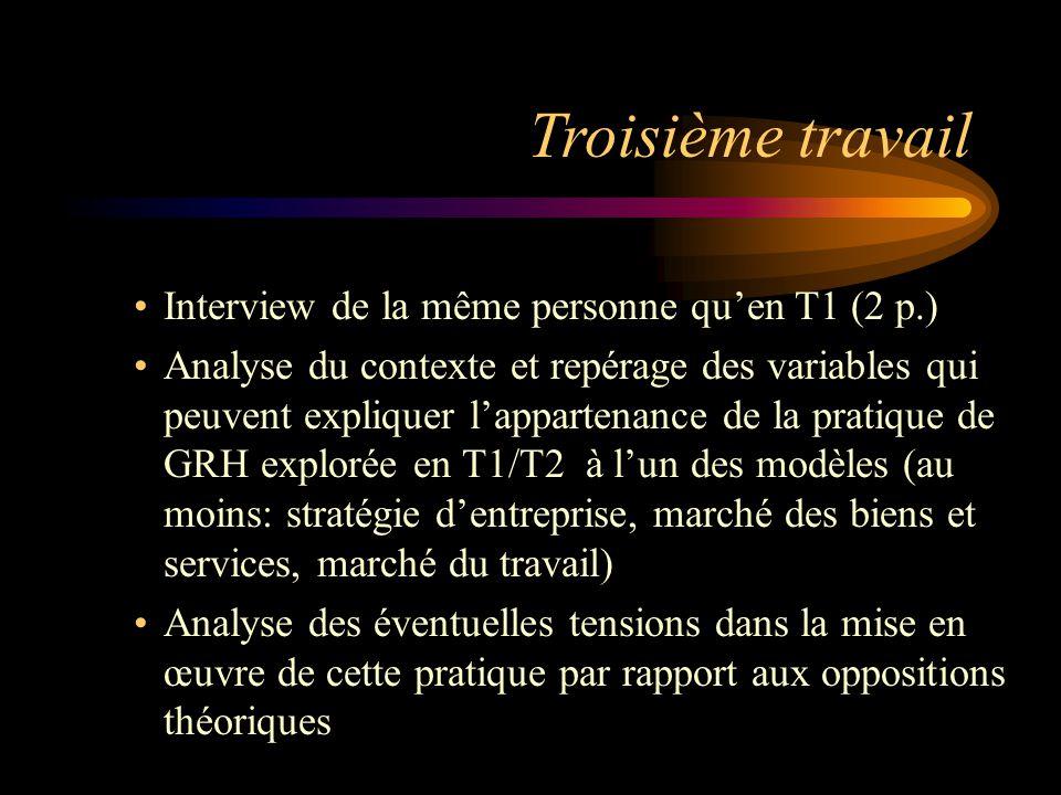 Troisième travail Interview de la même personne qu'en T1 (2 p.)