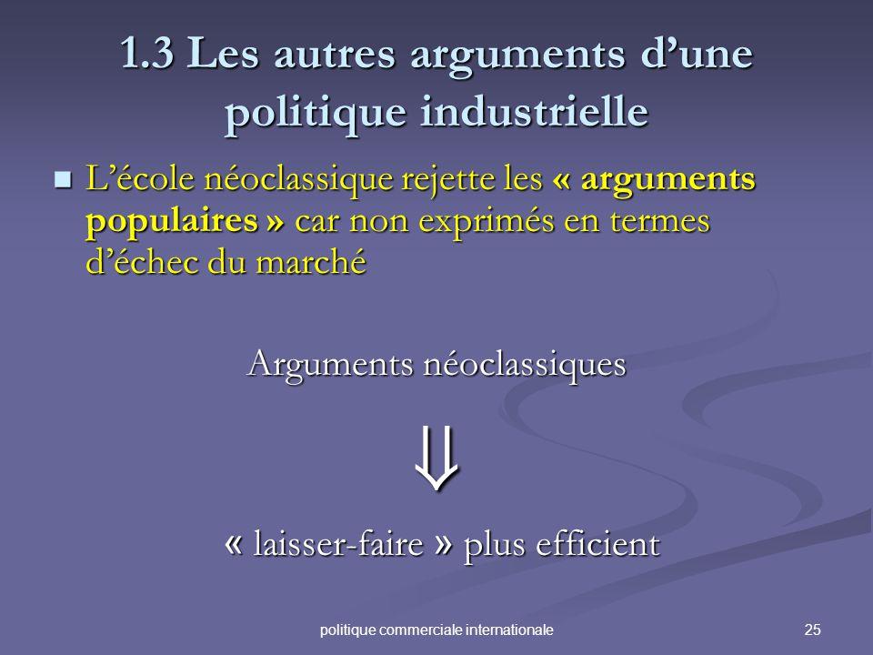 1.3 Les autres arguments d'une politique industrielle