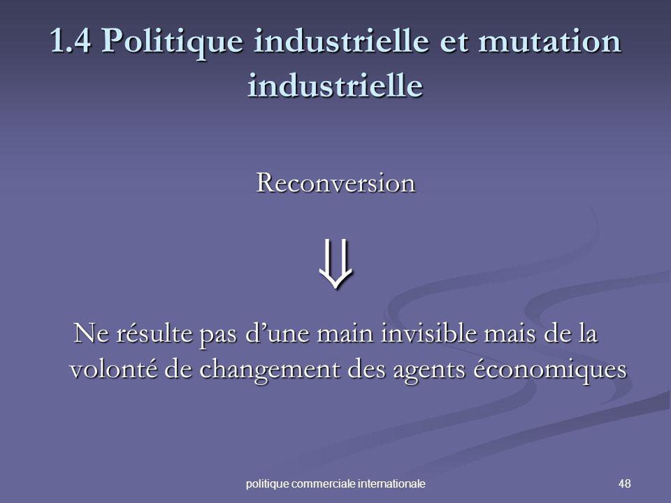 1.4 Politique industrielle et mutation industrielle