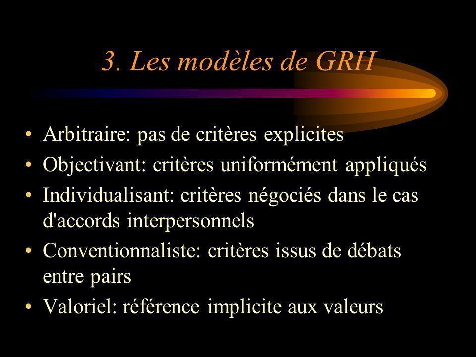 3. Les modèles de GRH Arbitraire: pas de critères explicites