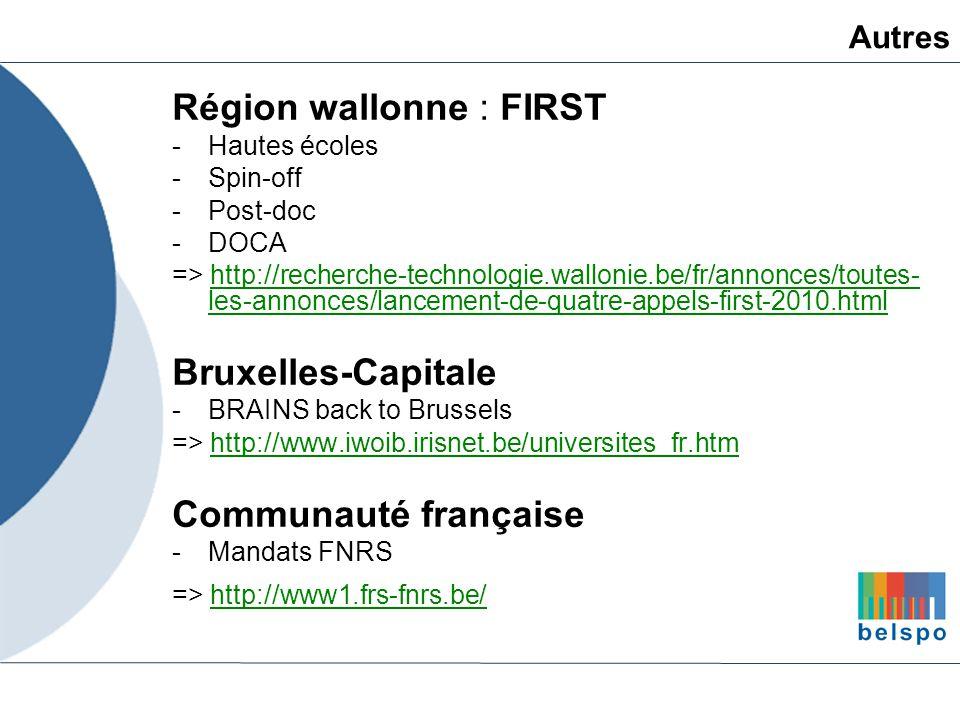 Région wallonne : FIRST