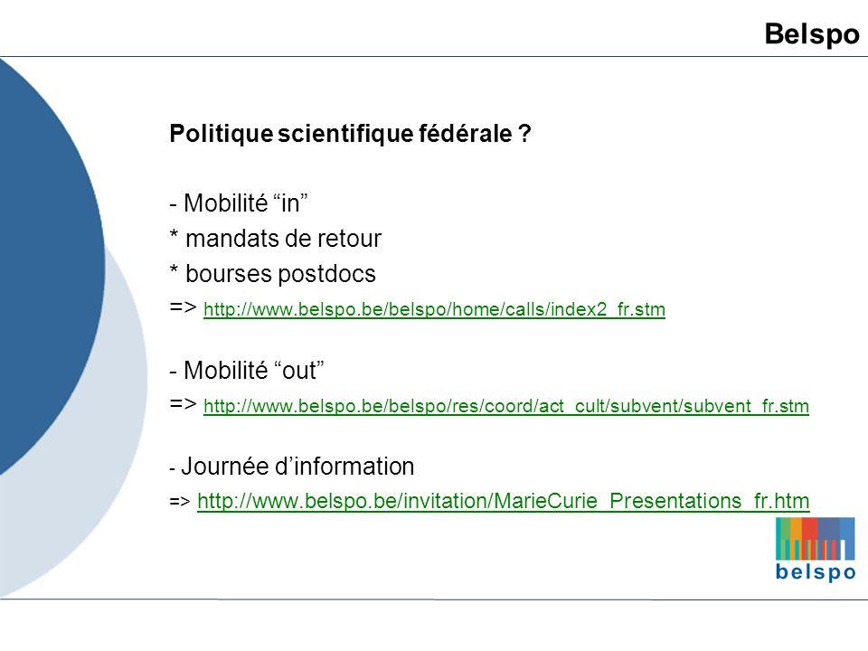 Belspo Politique scientifique fédérale - Mobilité in
