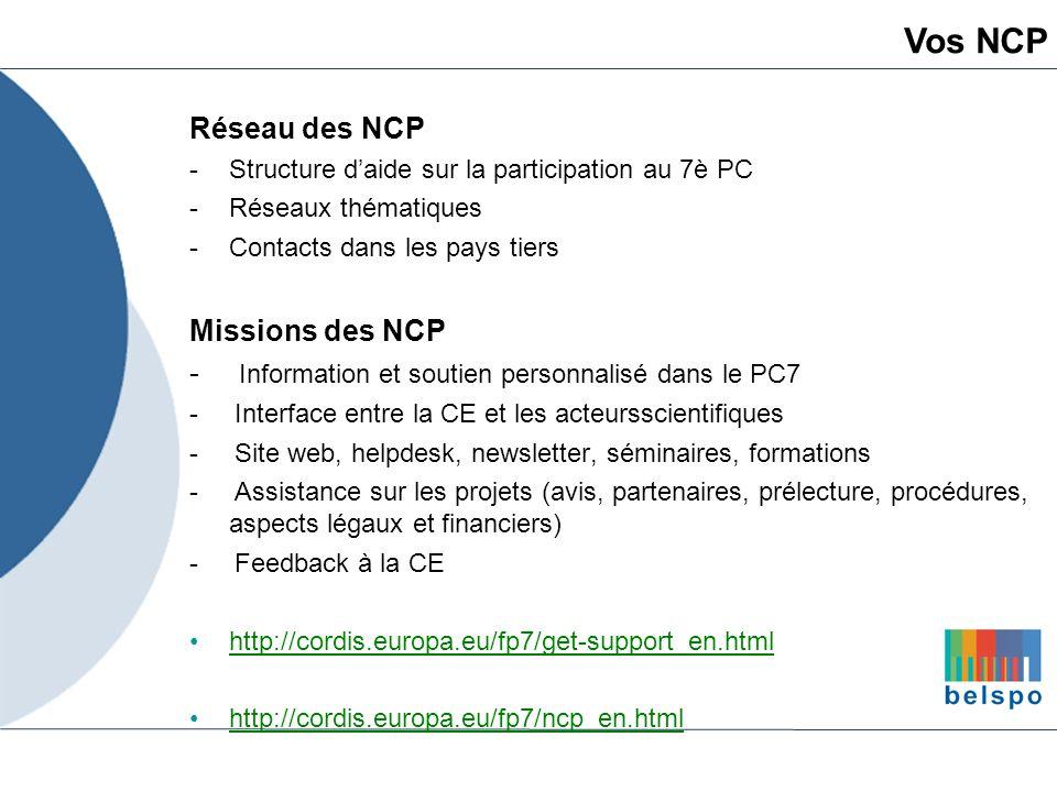 Vos NCP Réseau des NCP Missions des NCP