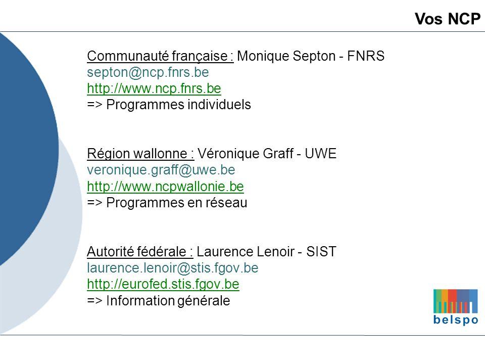 Vos NCP Communauté française : Monique Septon - FNRS
