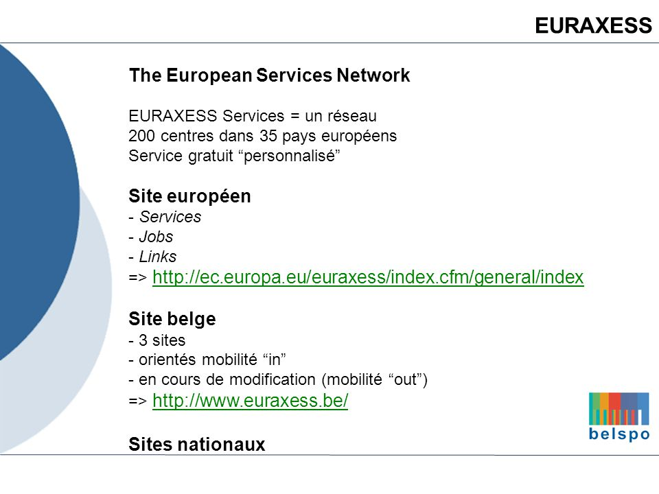 EURAXESS The European Services Network Site européen Site belge