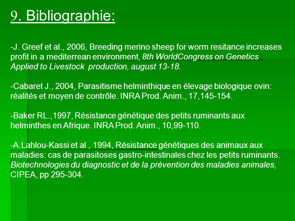 9. Bibliographie: