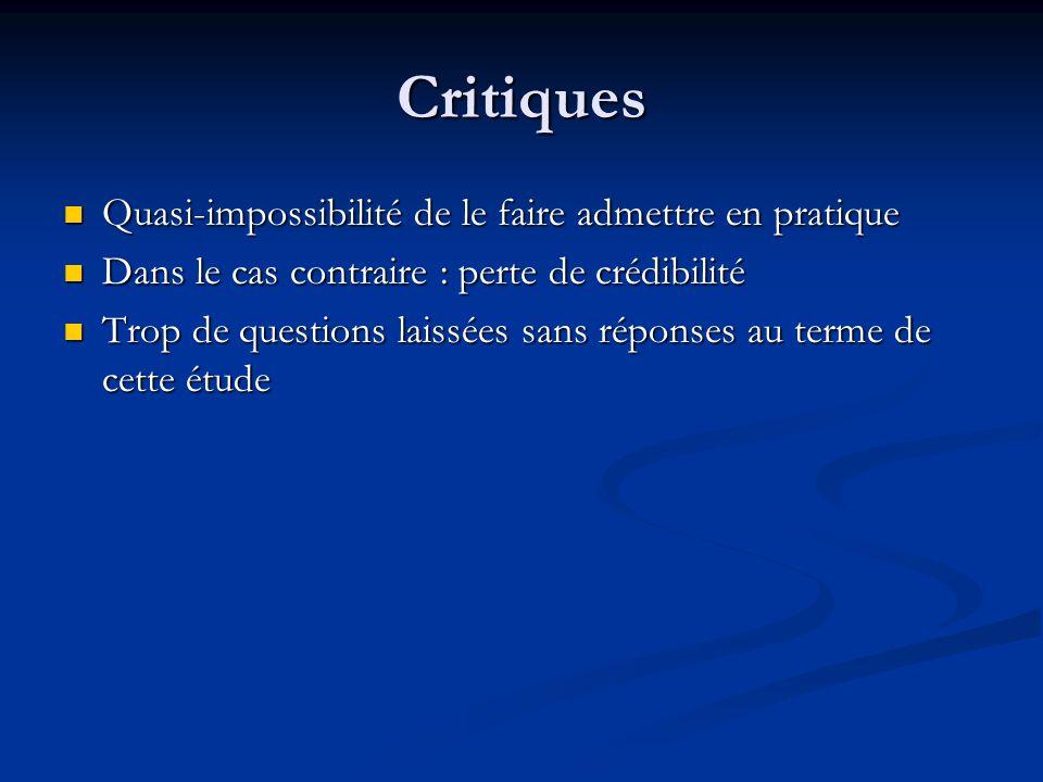 Critiques Quasi-impossibilité de le faire admettre en pratique