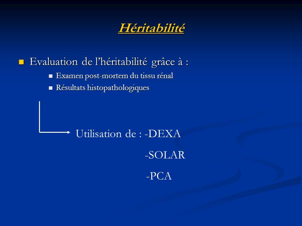 Héritabilité Evaluation de l'héritabilité grâce à :