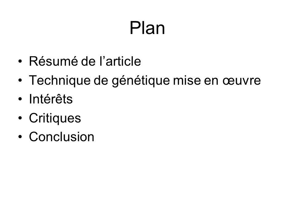 Plan Résumé de l'article Technique de génétique mise en œuvre Intérêts