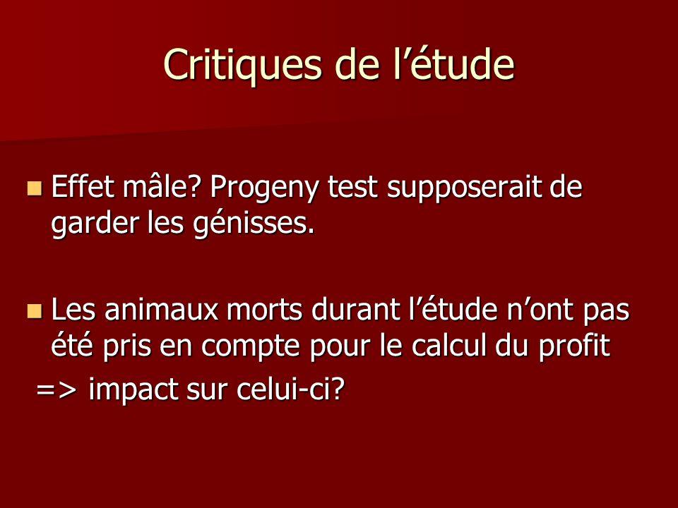 Critiques de l'étude Effet mâle Progeny test supposerait de garder les génisses.