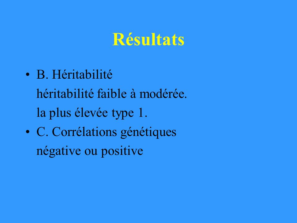 Résultats B. Héritabilité héritabilité faible à modérée.
