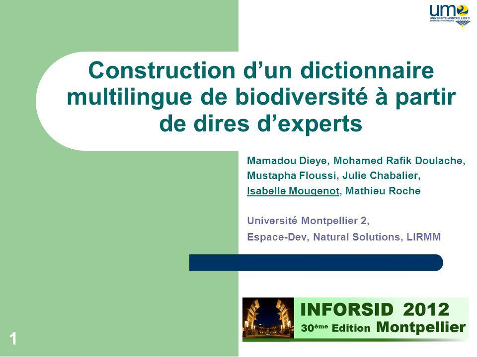 Construction d'un dictionnaire multilingue de biodiversité à partir de dires d'experts