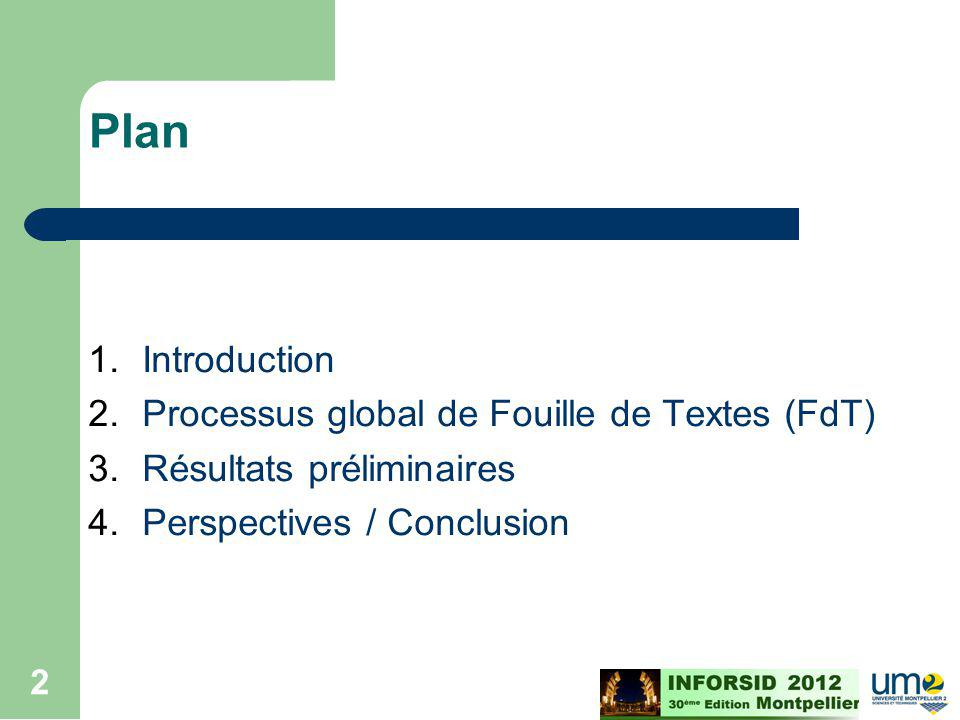 Plan Introduction Processus global de Fouille de Textes (FdT)