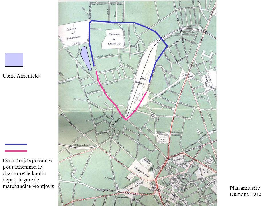 Usine Ahrenfeldt Deux trajets possibles pour acheminer le charbon et le kaolin depuis la gare de marchandise Montjovis.