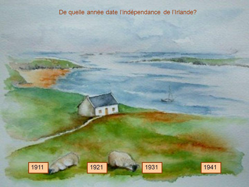 De quelle année date l'indépendance de l'Irlande