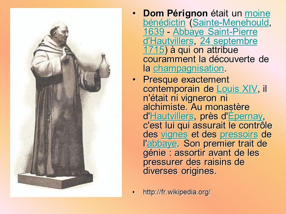 Dom Pérignon était un moine bénédictin (Sainte-Menehould, 1639 - Abbaye Saint-Pierre d Hautvillers, 24 septembre 1715) à qui on attribue couramment la découverte de la champagnisation.