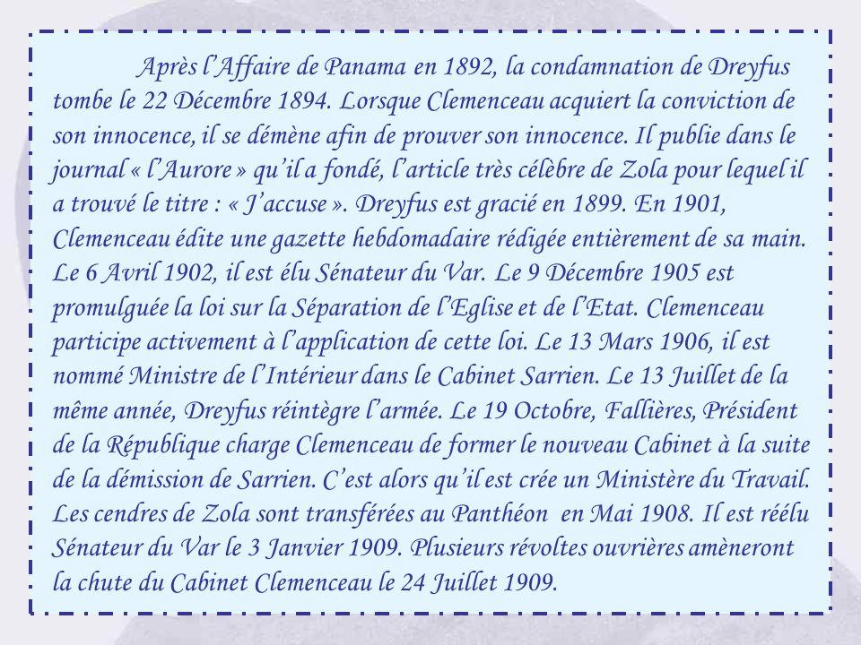 Après l'Affaire de Panama en 1892, la condamnation de Dreyfus tombe le 22 Décembre 1894.