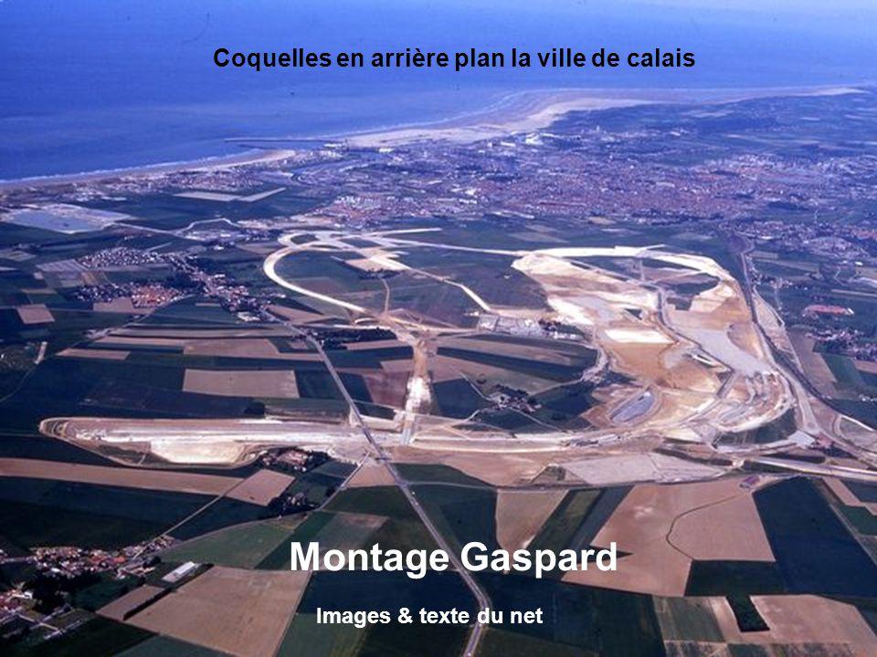 Montage Gaspard Coquelles en arrière plan la ville de calais
