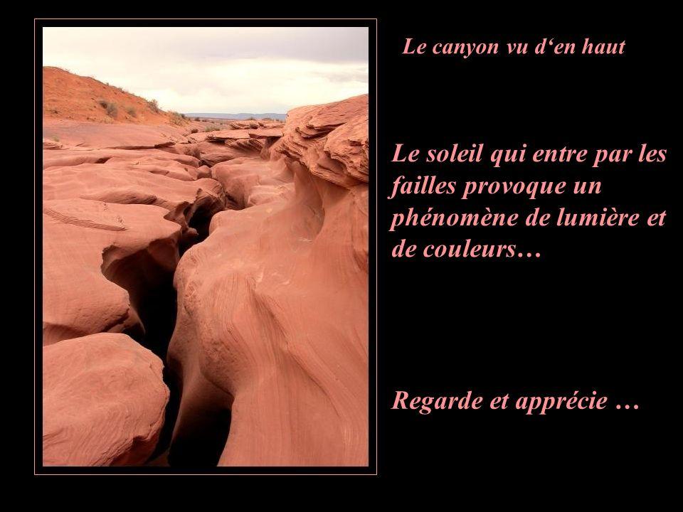 Le canyon vu d'en haut Le soleil qui entre par les failles provoque un phénomène de lumière et de couleurs…