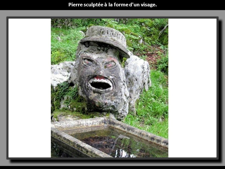 Pierre sculptée à la forme d un visage.