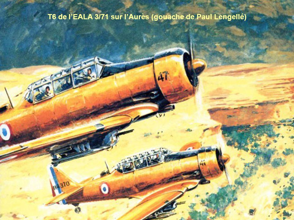T6 de l'EALA 3/71 sur l'Aurès (gouache de Paul Lengellé)