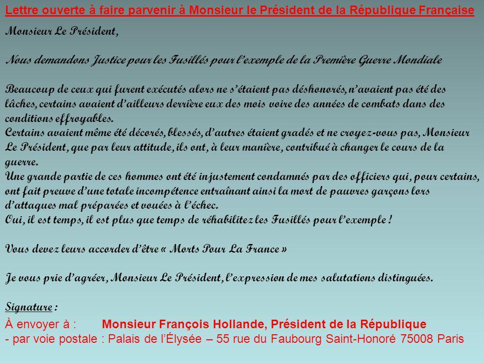 Lettre ouverte à faire parvenir à Monsieur le Président de la République Française