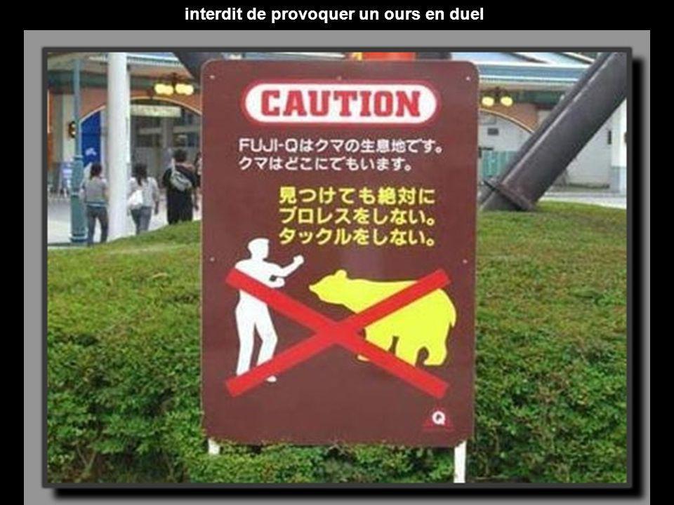interdit de provoquer un ours en duel