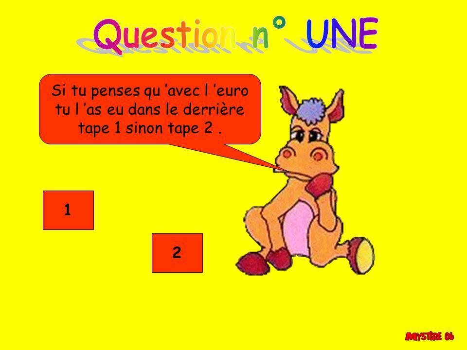 Question n° UNE Si tu penses qu 'avec l 'euro