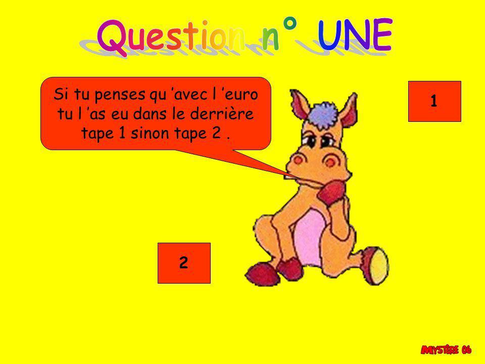 Question n° UNE Si tu penses qu 'avec l 'euro 1