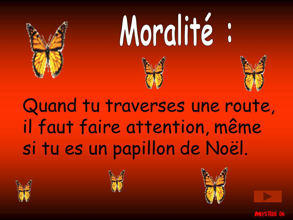 Moralité : Quand tu traverses une route, il faut faire attention, même si tu es un papillon de Noël.