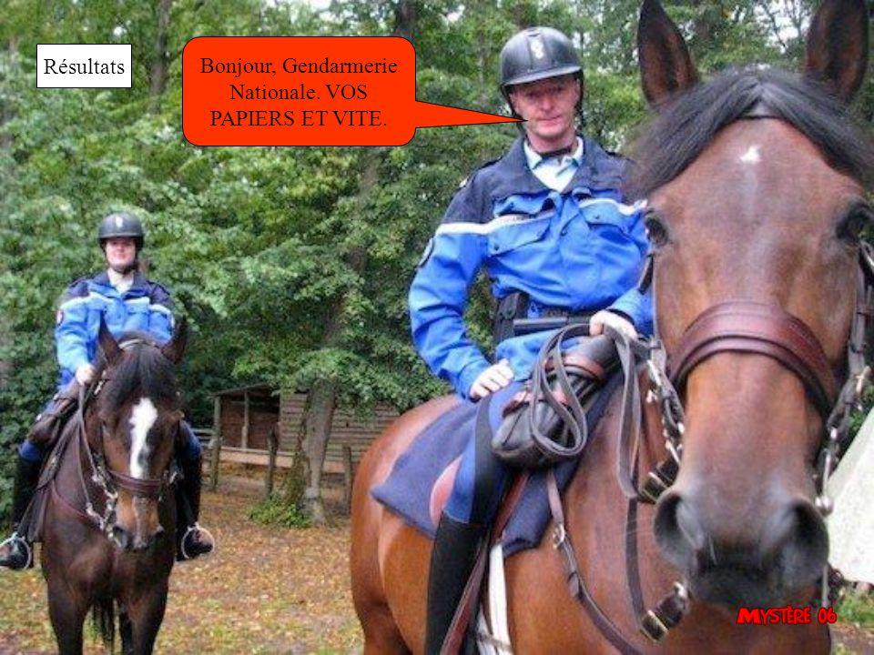 Bonjour, Gendarmerie Nationale. VOS PAPIERS ET VITE. Résultats