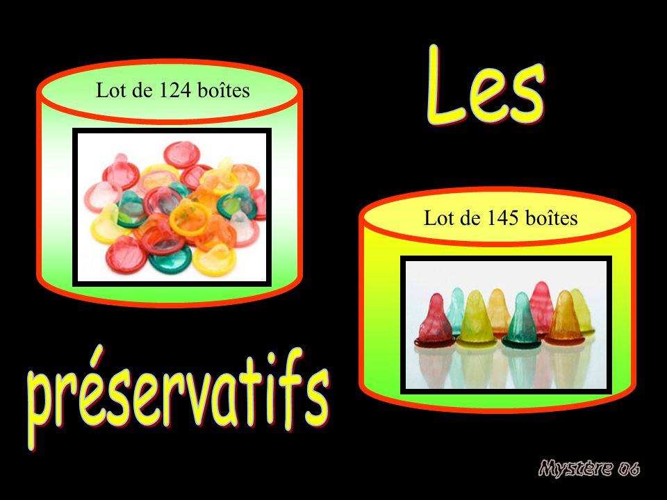 Les Lot de 124 boîtes Lot de 145 boîtes préservatifs