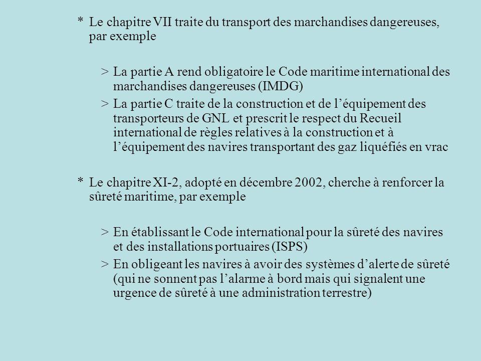 Le chapitre VII traite du transport des marchandises dangereuses, par exemple