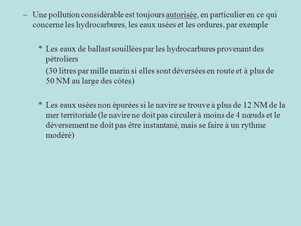 Une pollution considérable est toujours autorisée, en particulier en ce qui concerne les hydrocarbures, les eaux usées et les ordures, par exemple