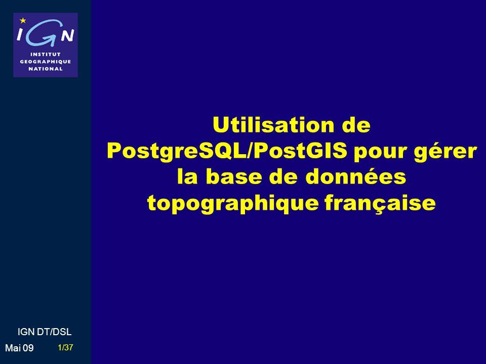 Utilisation de PostgreSQL/PostGIS pour gérer la base de données topographique française