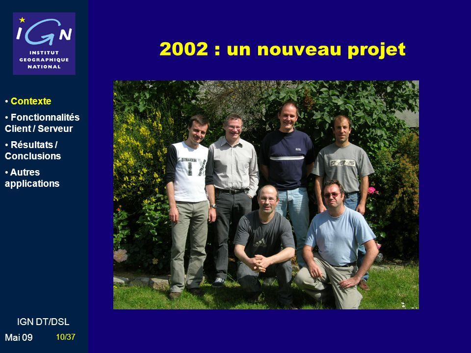 2002 : un nouveau projet Contexte Fonctionnalités Client / Serveur