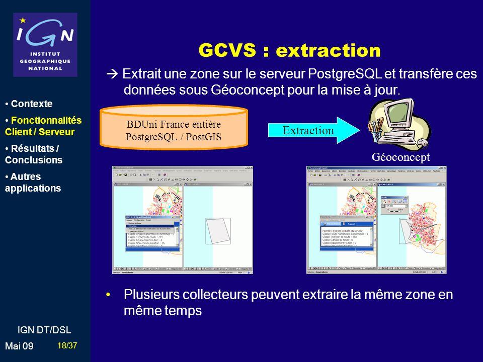 GCVS : extraction  Extrait une zone sur le serveur PostgreSQL et transfère ces données sous Géoconcept pour la mise à jour.