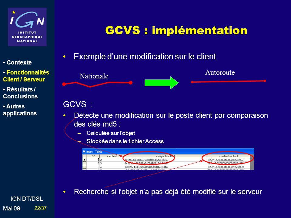 GCVS : implémentation Exemple d'une modification sur le client GCVS :