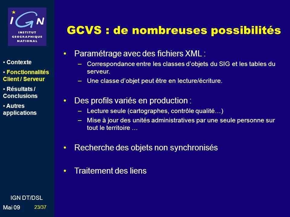 GCVS : de nombreuses possibilités