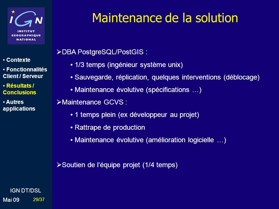 Maintenance de la solution