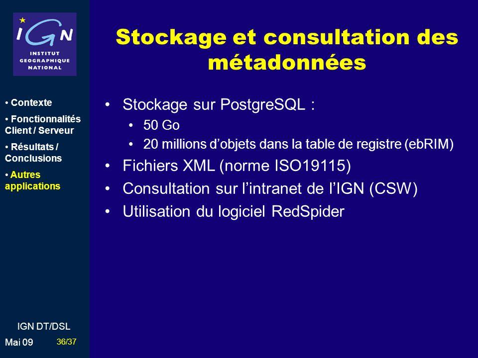 Stockage et consultation des métadonnées
