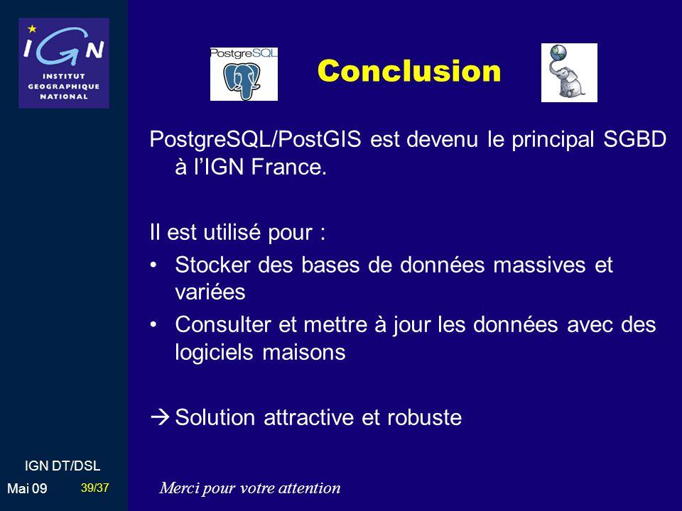 Conclusion PostgreSQL/PostGIS est devenu le principal SGBD à l'IGN France. Il est utilisé pour : Stocker des bases de données massives et variées.