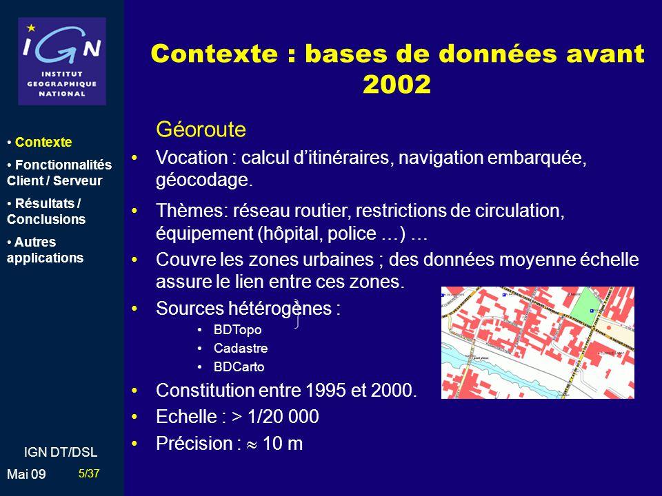 Contexte : bases de données avant 2002