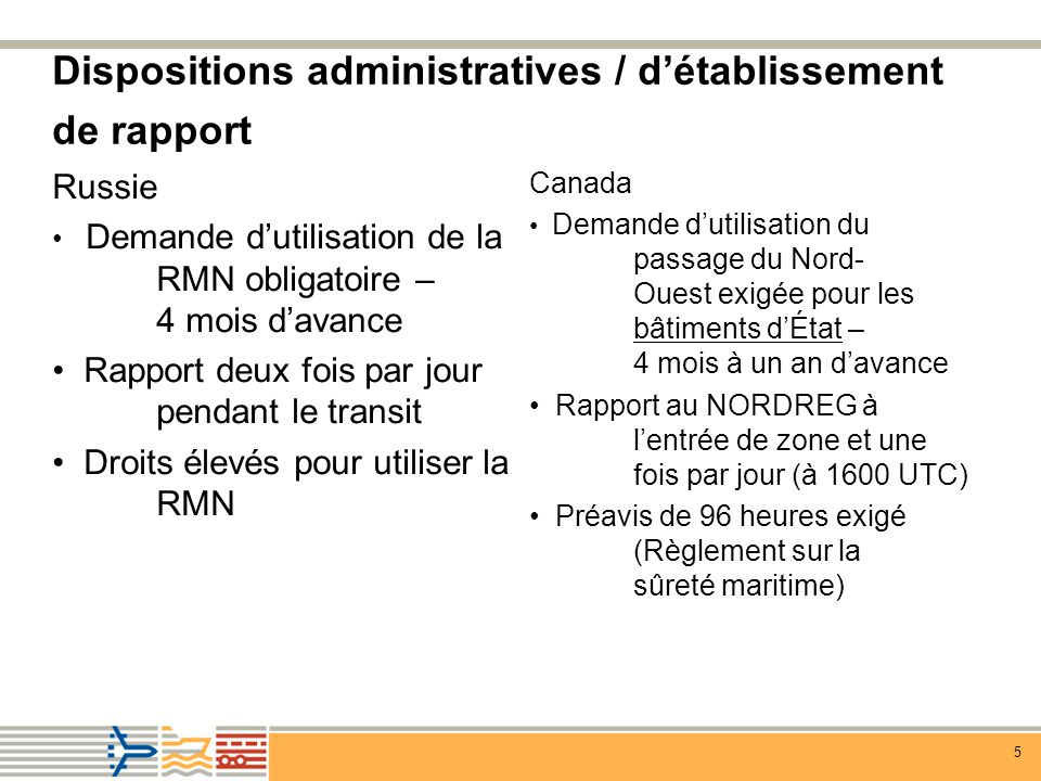 Dispositions administratives / d'établissement de rapport