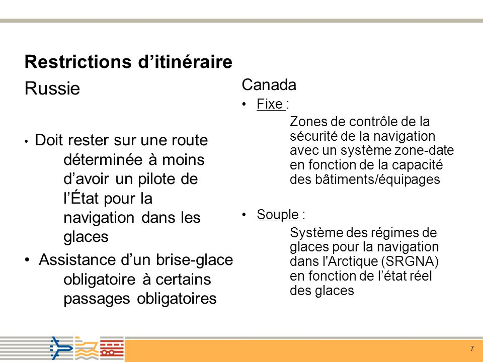 Restrictions d'itinéraire