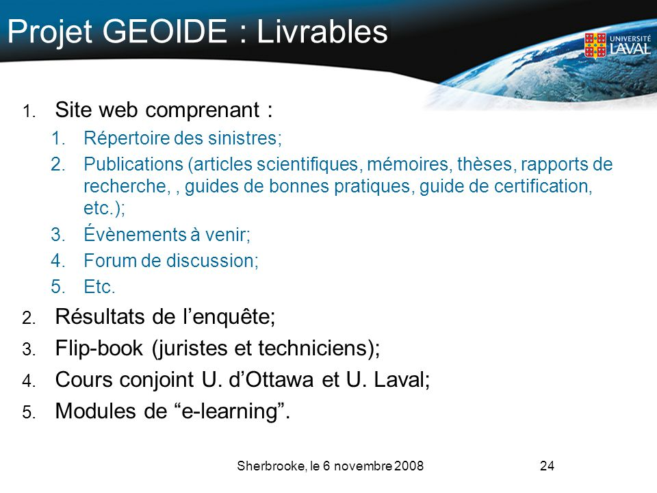Projet GEOIDE : Livrables