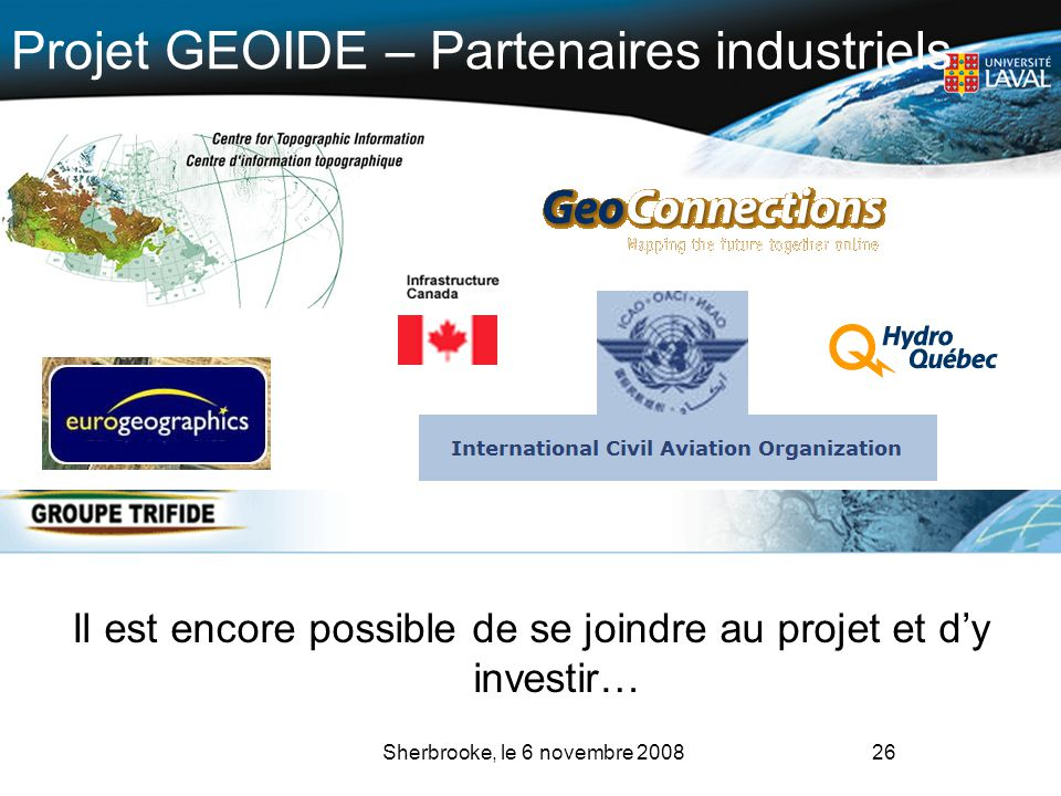 Projet GEOIDE – Partenaires industriels